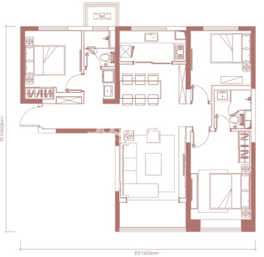 卓越坊119㎡3室2厅2卫户型图