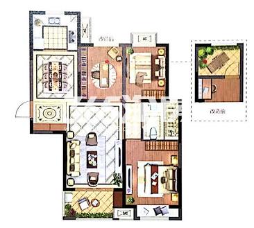 苏高新地产天城花园C2户型103.13-103.37平米