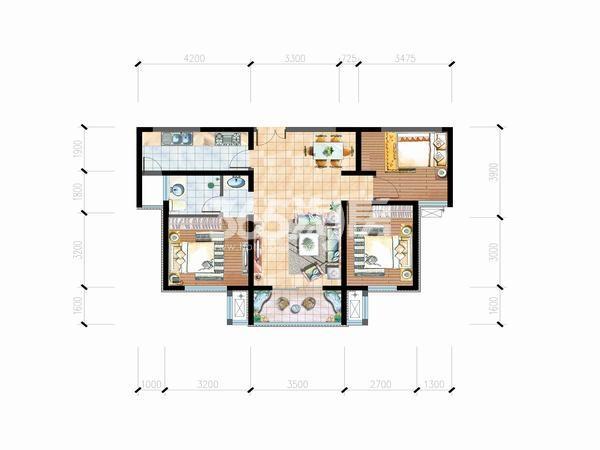明丰阿基米德95平方米3室2厅一厨一卫户型图