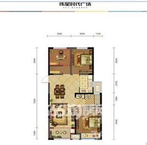 伟星时代广场3室1厅1卫97㎡整租简装
