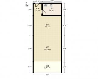 21世纪假日花园2室1厅1卫54平方产权房精装