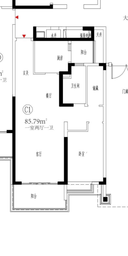 恒大御景湾1室2厅1卫85.79平米2020年产权房毛坯