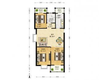 瑶海公园天瑶花苑2室2厅1卫98平米