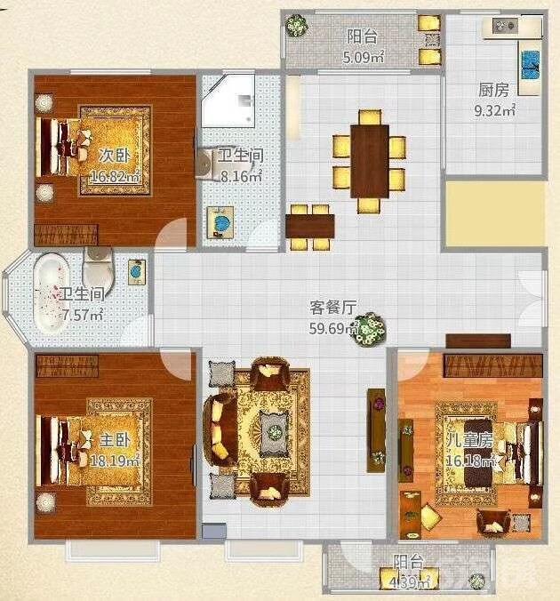 月亮湾3室2厅2卫132�O产权房毛坯