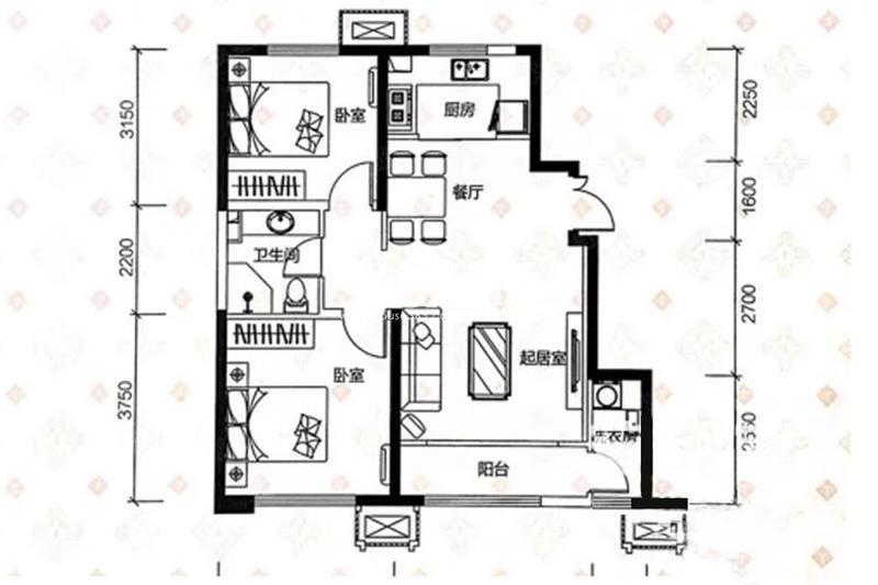 98平米两室两厅一卫