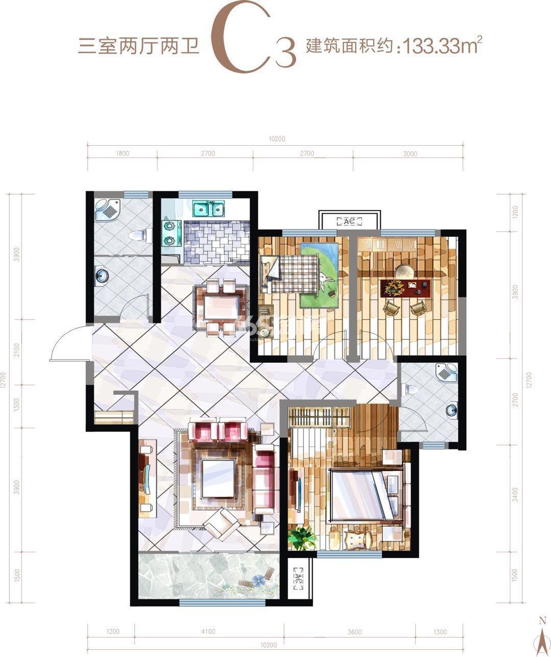 华安紫竹苑C3户型三室两厅一厨两卫133.33㎡