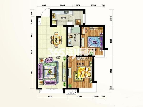 定西 天庆嘉园户型图1-3#C3户  面积 99.00㎡ 2室2厅1卫1厨