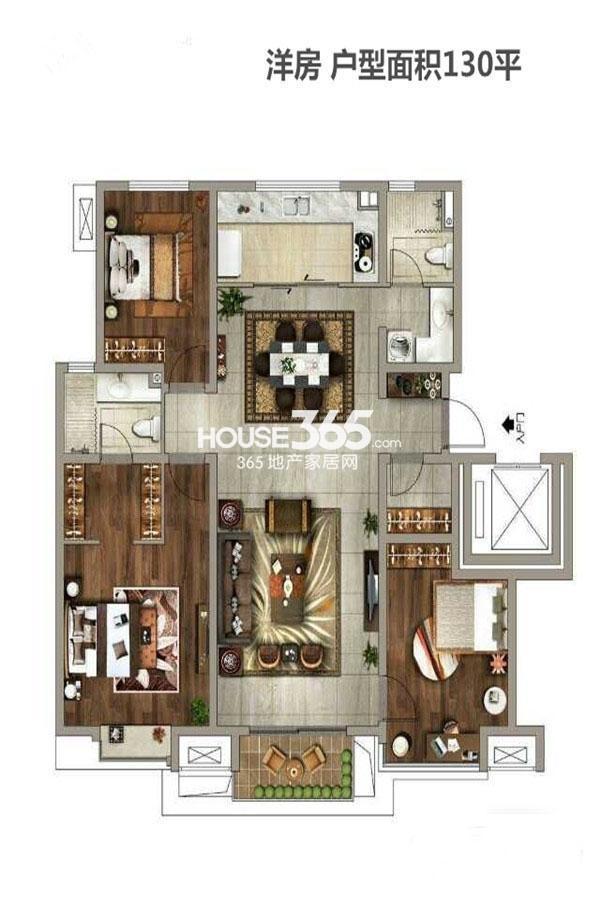 万科金域东郡2期5号楼3室2厅2卫1厨130㎡
