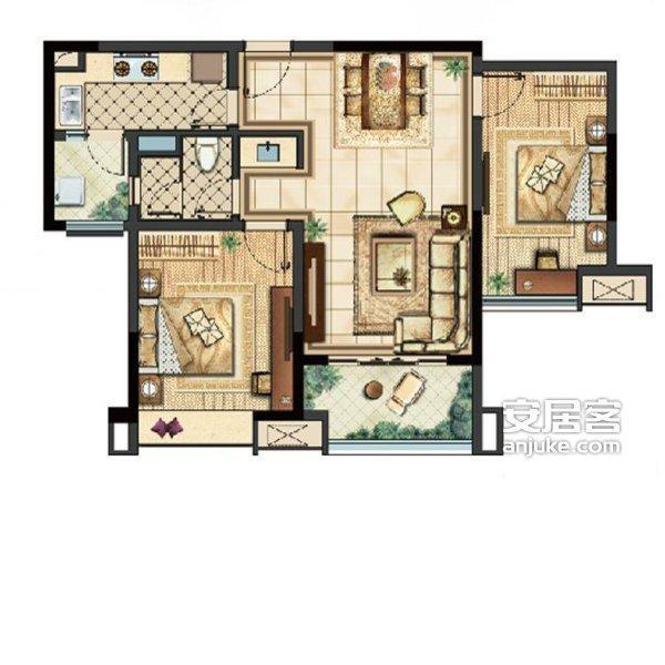 句容黄梅碧桂园凤凰城精装大两房全新装修未入住婚房装修设计