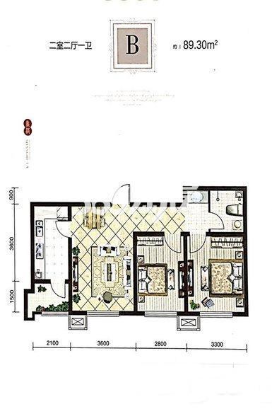 高层B户型 89平米两室