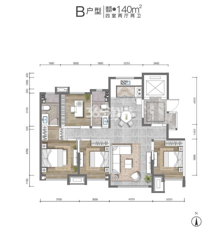 枫林九溪B户型140平四室两厅两卫