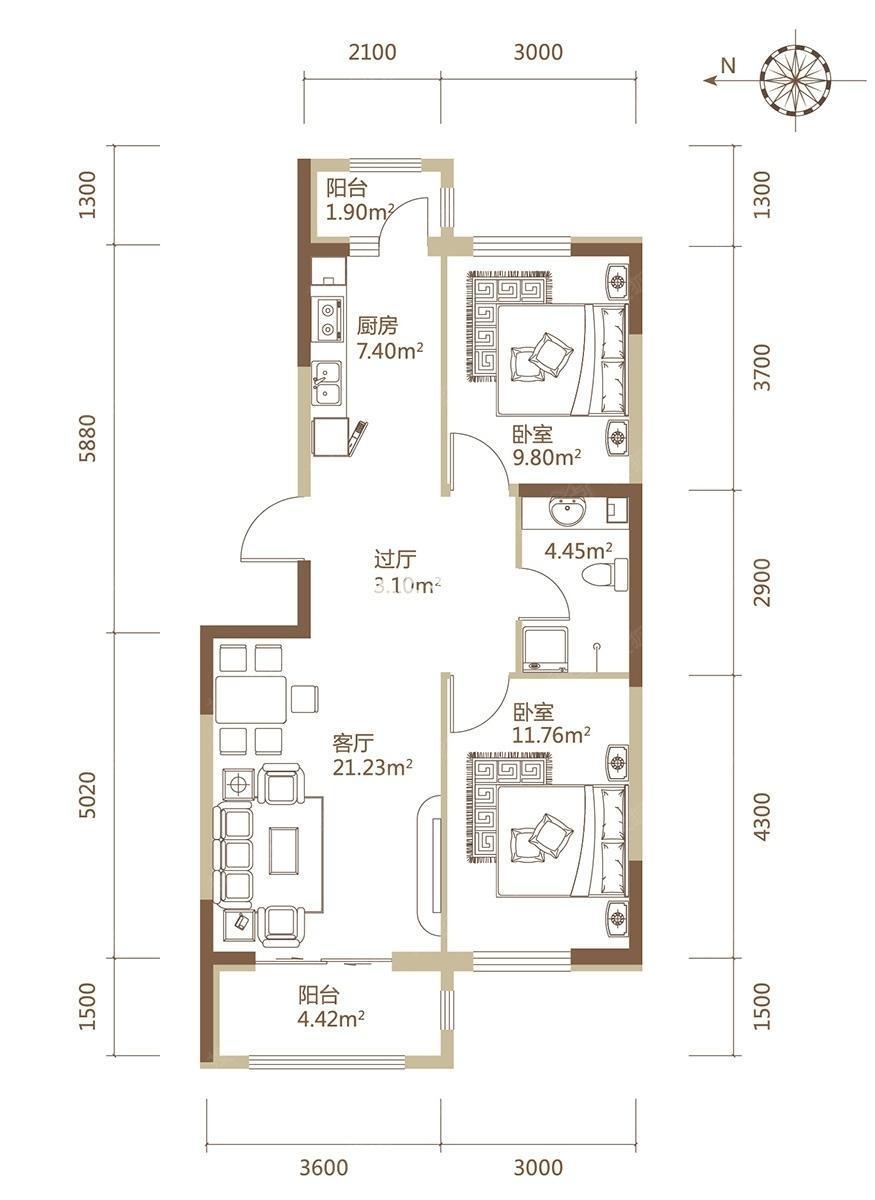 A1栋C户型建筑面积100.17平米两居户型