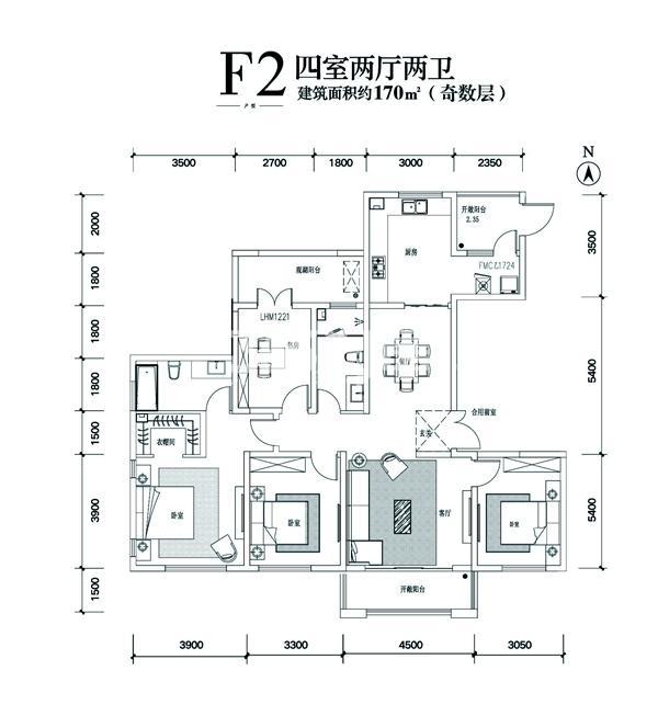 F2四室两厅两卫建面170㎡奇数层