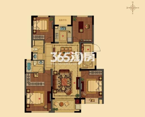 枫丹壹號 洋房118平4房2厅2卫户型图