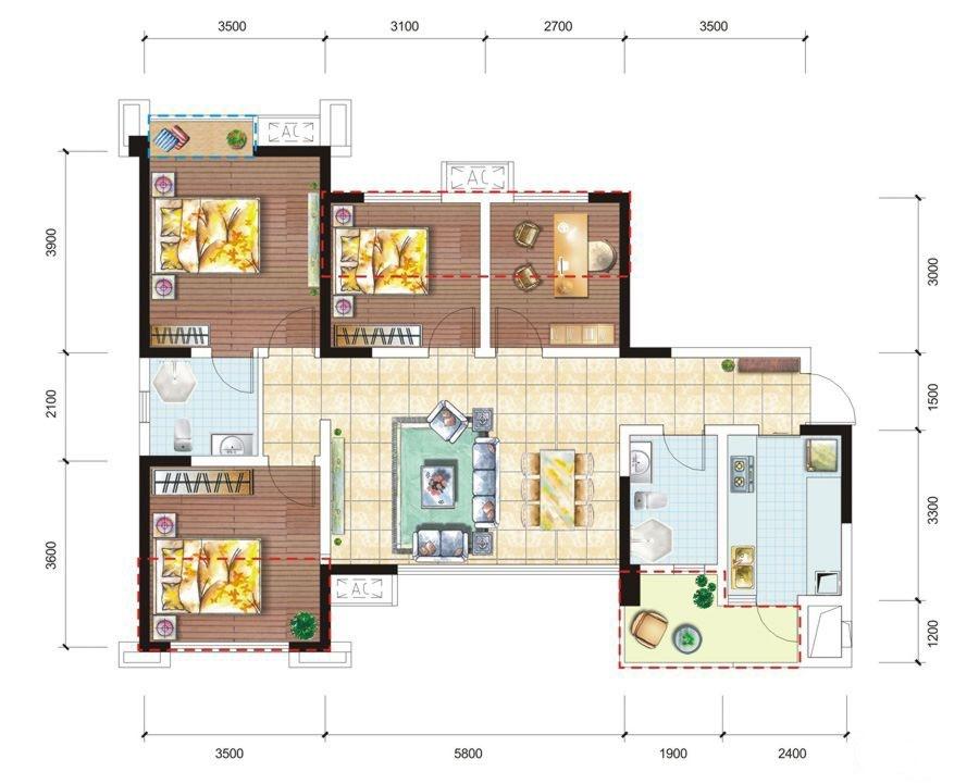 J户型 4室2厅2卫 110.15平