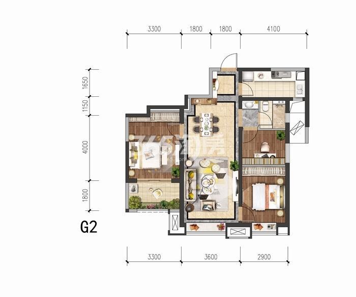 中国铁建花语城G2户型三室两厅一卫98平