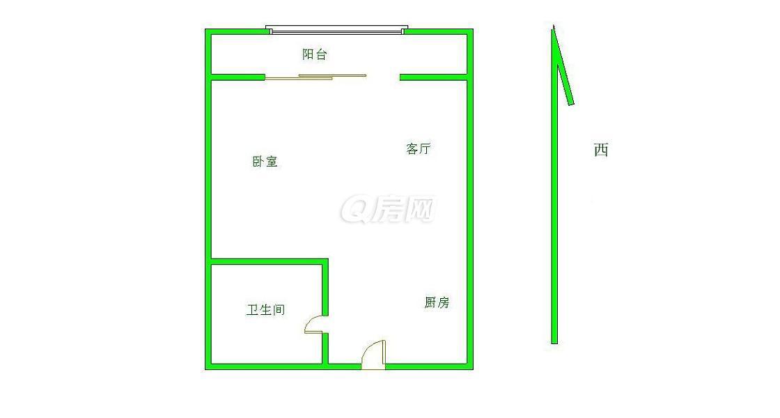 江宁区岔路口天地新城天柱座1室1厅户型图