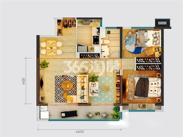 绿地新里城两室两厅95㎡户型图