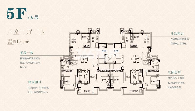 S1五层131㎡户型