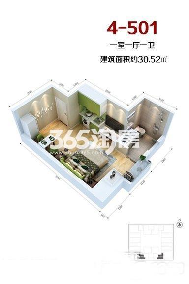 当代满堂悦MOMΛ1室1厅1厨1卫30.52㎡