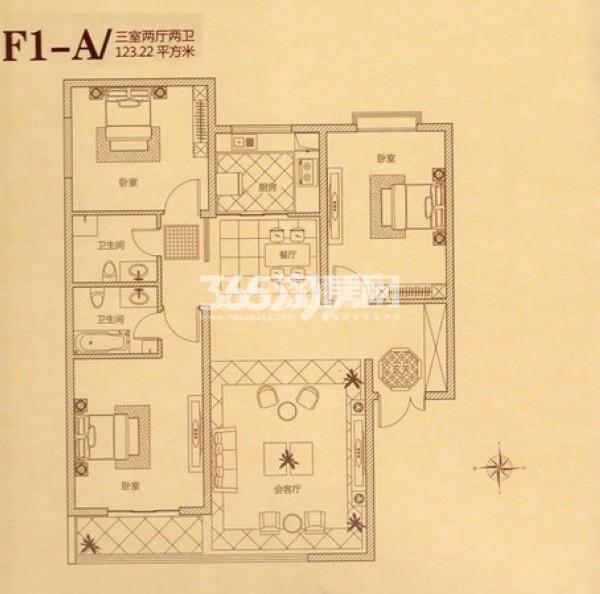瑞城三室两厅两卫123.22㎡
