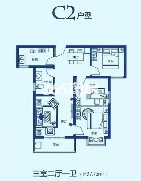 C2户型 97㎡ 三室二厅一卫