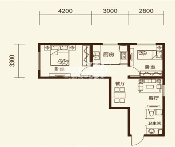 澳洲领地2室2厅1卫65㎡