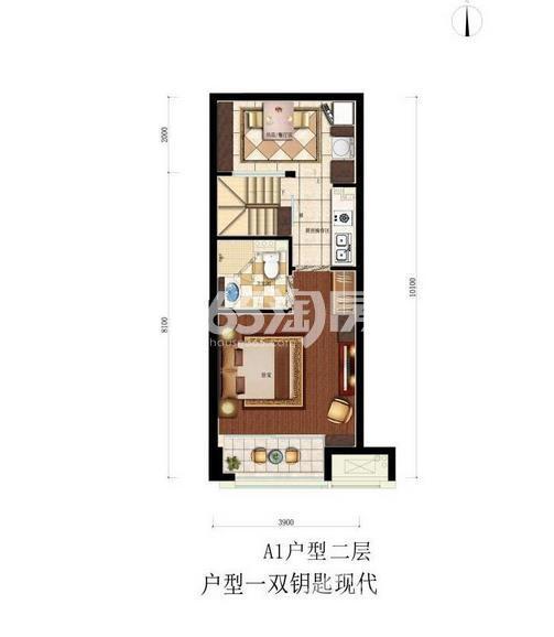 滨江同协金座A1户型图45方二层