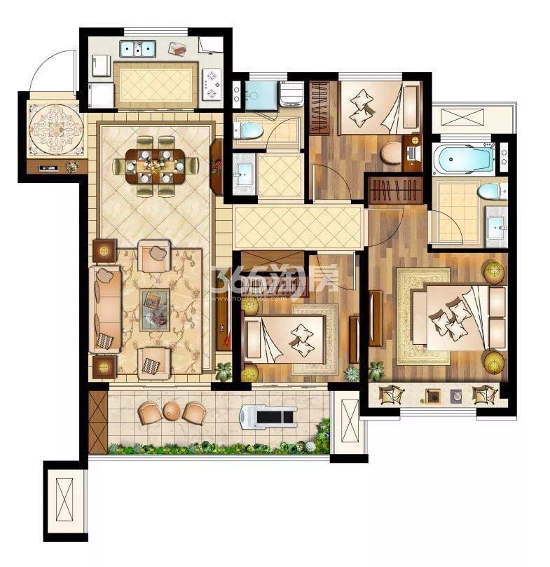 三室两厅两卫107㎡