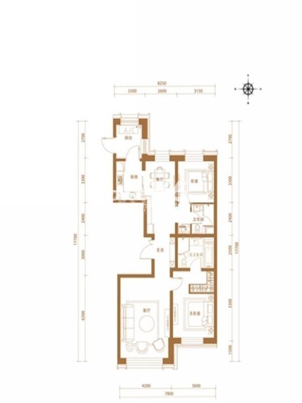 沈阳嘉里中心雅颂居 两室两厅两卫一厨 140平米 户型图