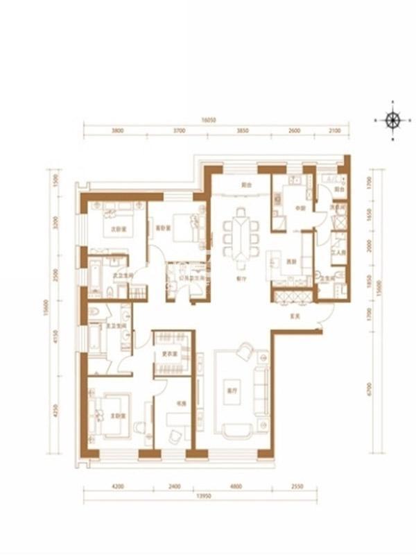 沈阳嘉里中心雅颂居 三室两厅四卫两厨 255平米户型图