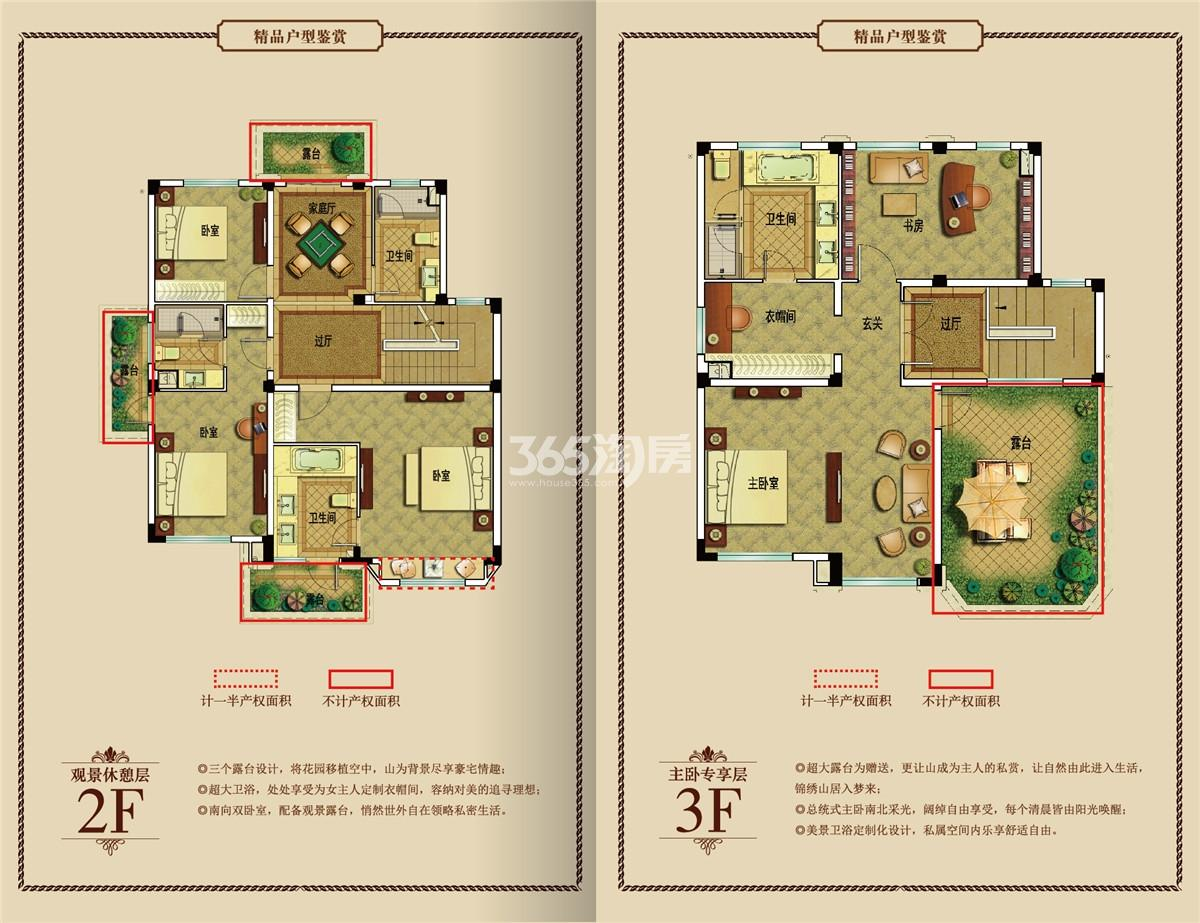 御景园独栋别墅B1户型图2-3F