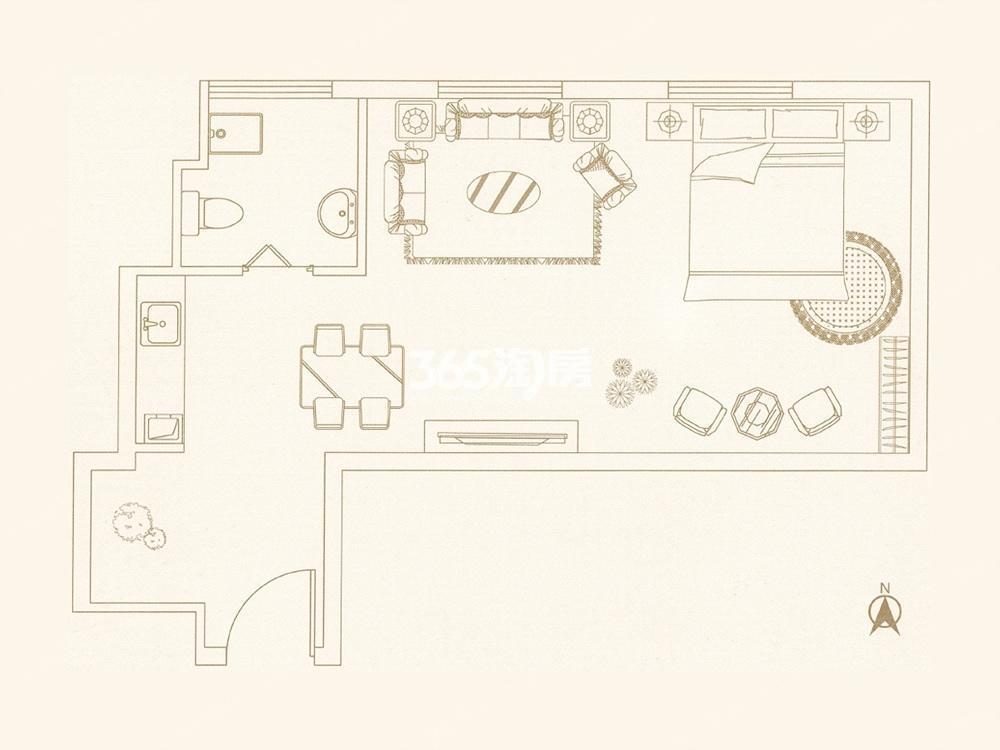 中垠紫金观邸公寓E户型图45㎡