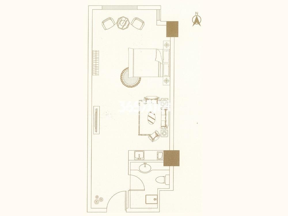 中垠紫金观邸公寓B户型图43㎡