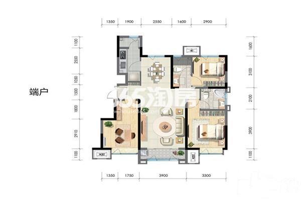 洋房端户112平 3室2厅1厨2卫