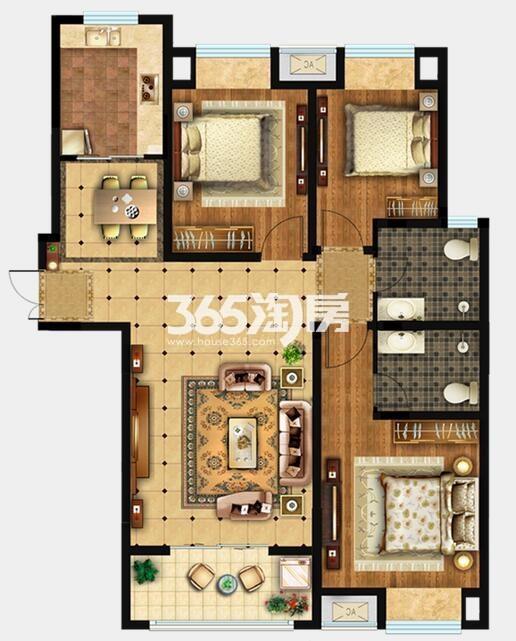 D2户型 约115m2 三室两厅两卫