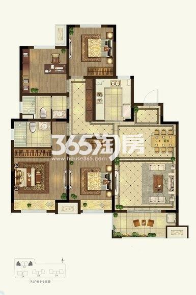 美的云熙府4室2厅1厨2卫140.00㎡户型图