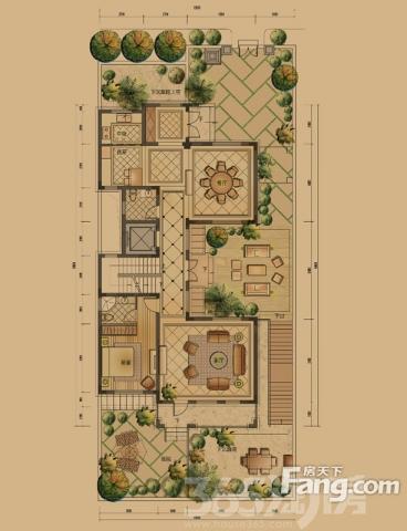 别墅外景手绘平面图