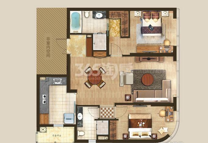 丰隆城市中心T1-70年产权公寓D-1-4户型