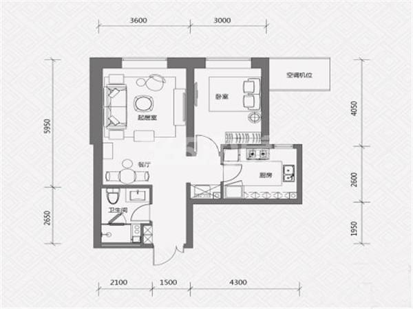 K户型, 1室2厅1卫, 约72.00平米