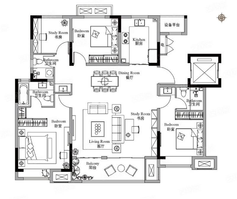 三期143㎡户型4室2厅3卫