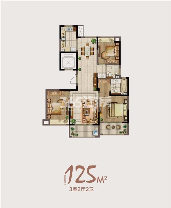 绿地海悦125㎡三室两厅一卫户型