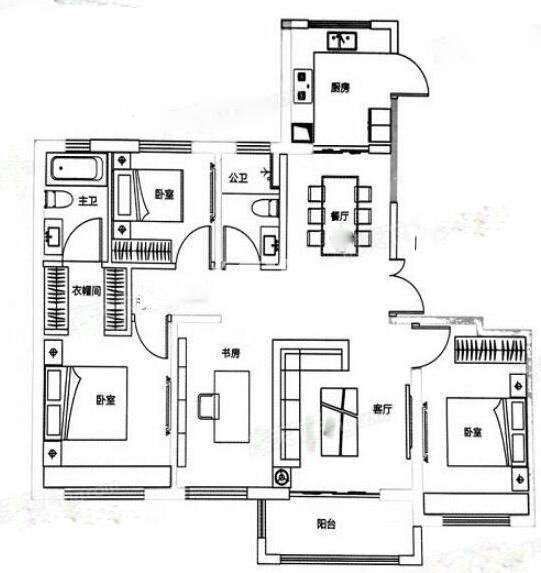 保利天悦4室2厅144㎡户型图