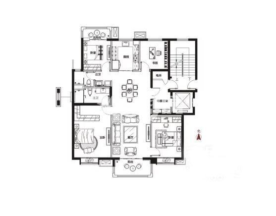 万科城润园4室2厅2卫1厨147平户型(首层)