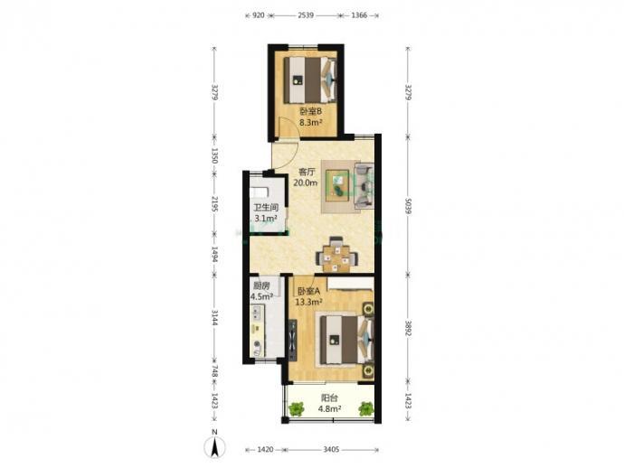 南苑晔园满五唯一中间楼层精装2室1厅1卫产权房