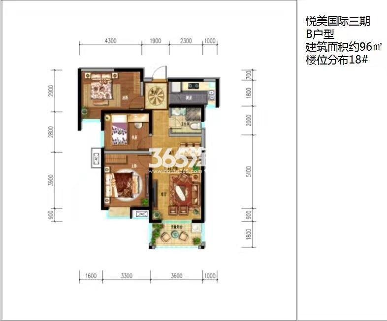 悦美国际三期B户型18#楼三室两厅一厨一卫96㎡