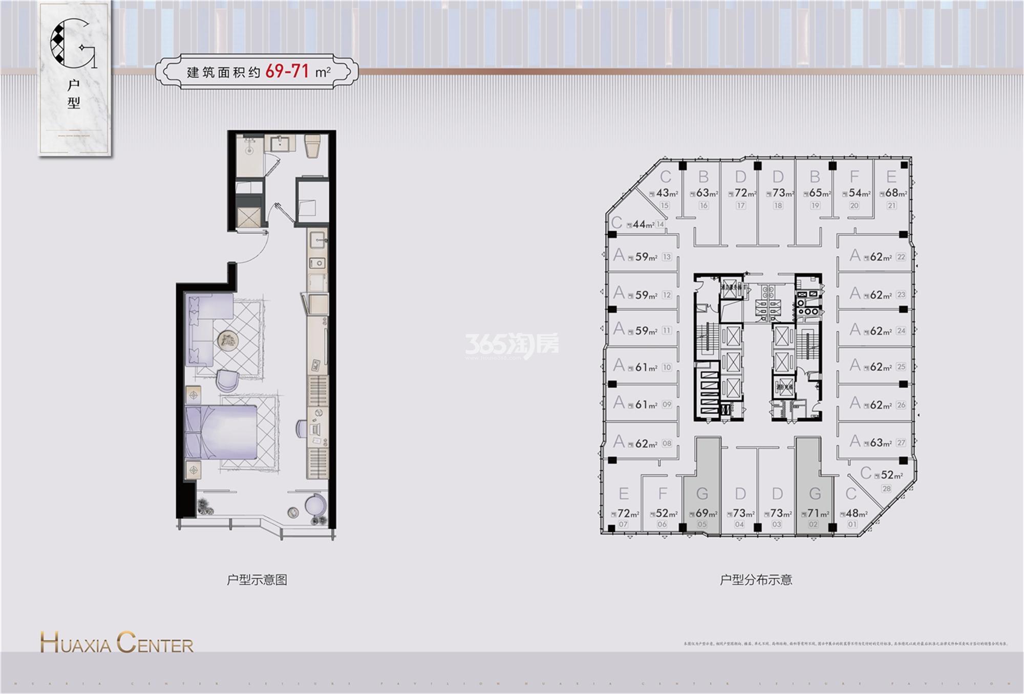华夏之心公寓G户型 约69-71㎡