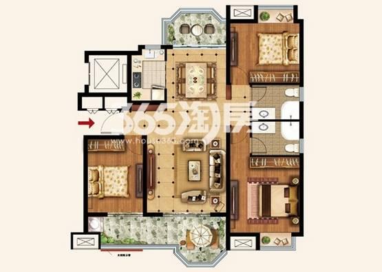 户型:3室2厅 面积:126�O