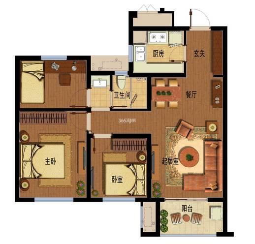 户型:3室2厅 面积:90�O