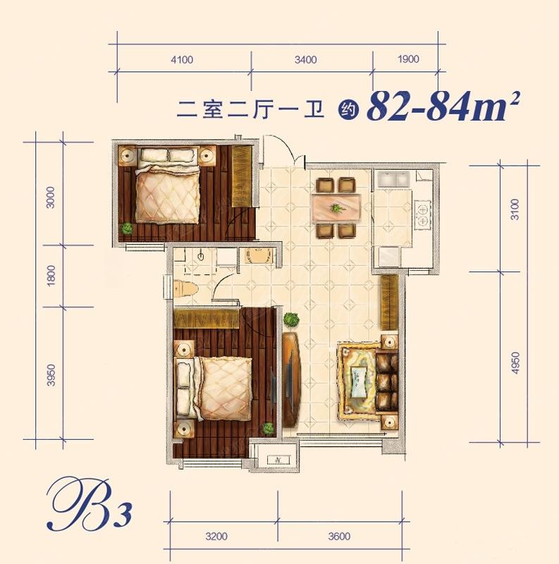 82-84平米 2室2厅1卫